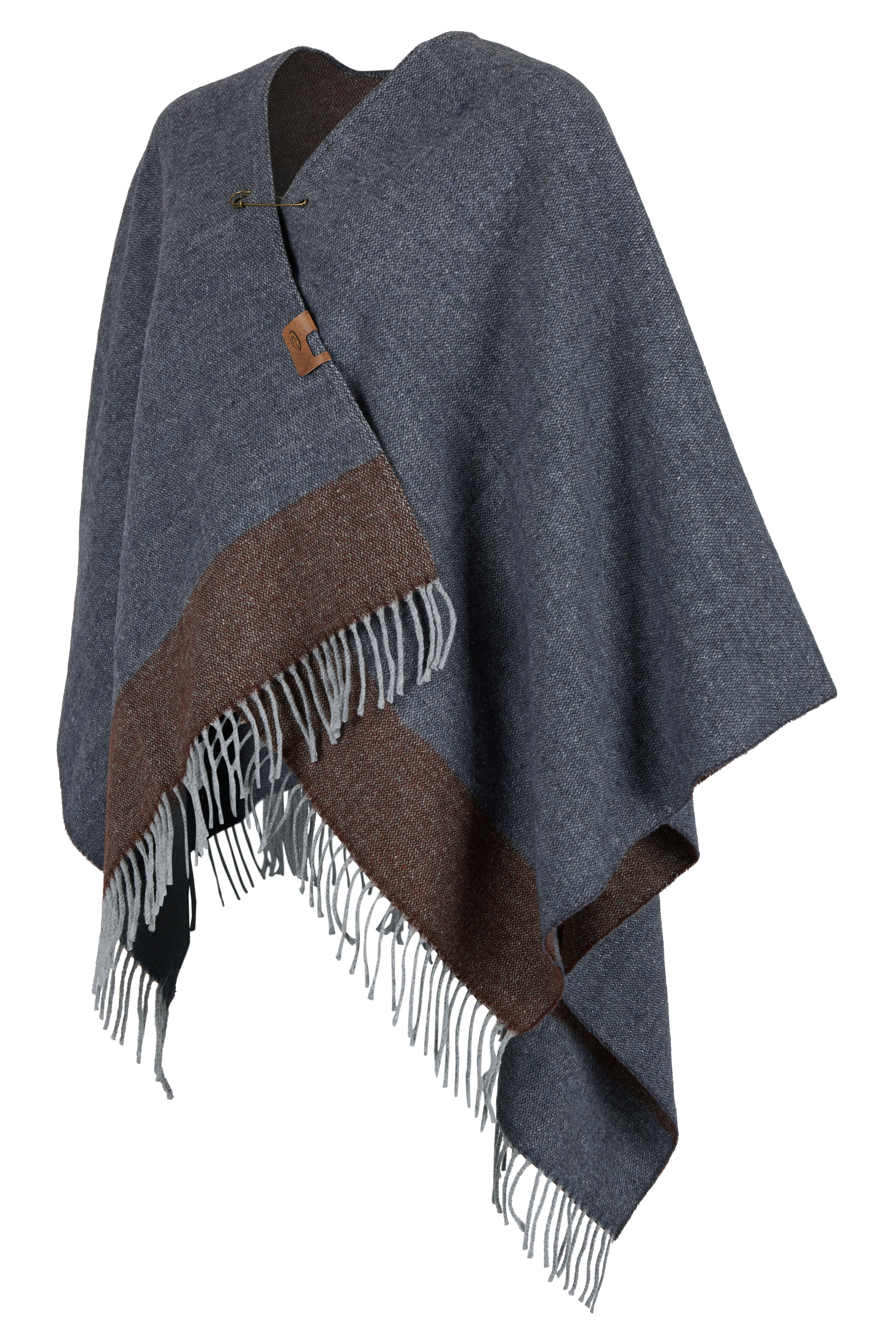camel-active-Damen-Poncho-Cape-in-Woll-Optik-Grau-amp-Blau-NEU-304400-4A40