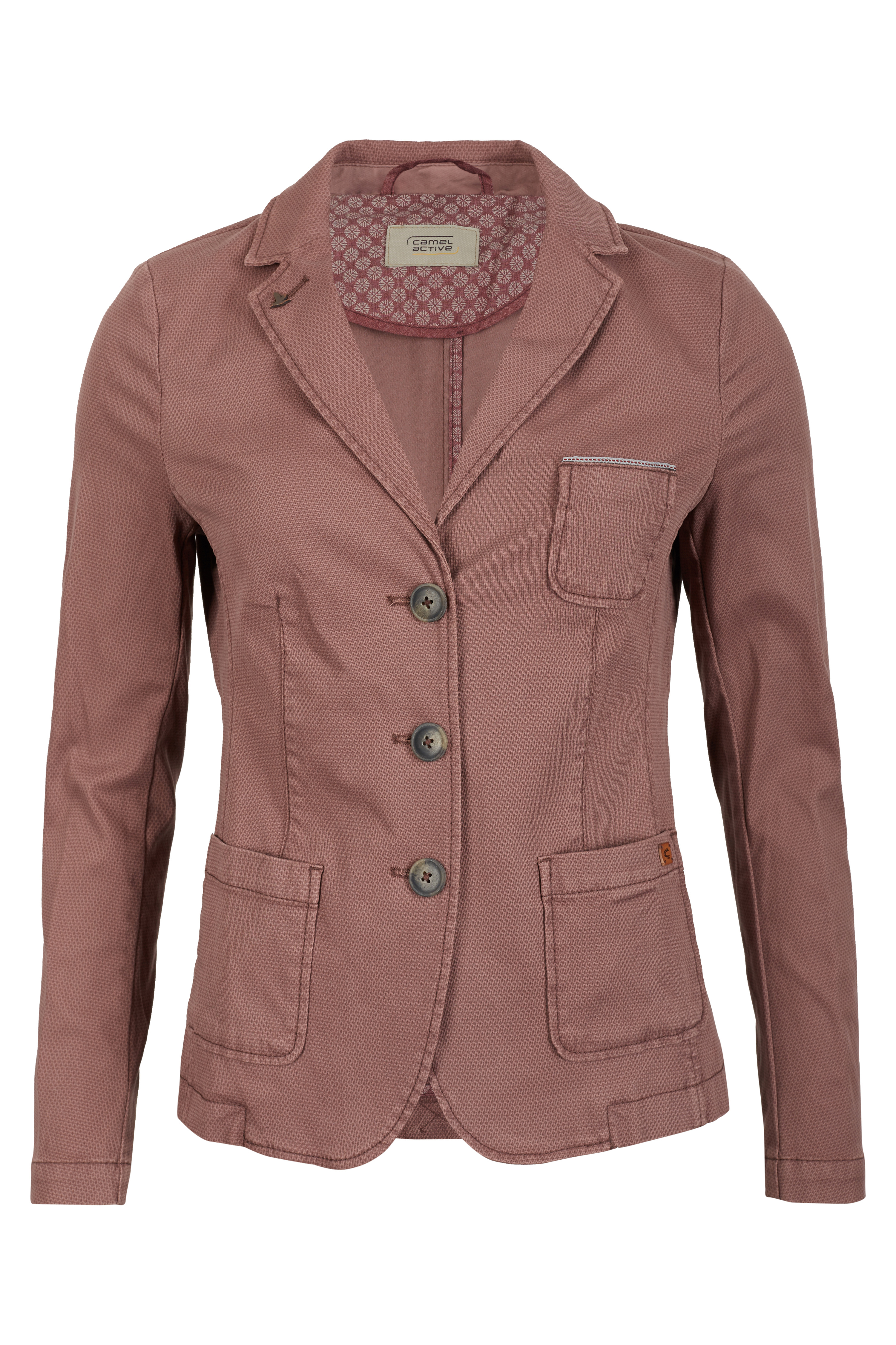 camel active damen blazer mit stretch 3 knopf blazer rose. Black Bedroom Furniture Sets. Home Design Ideas